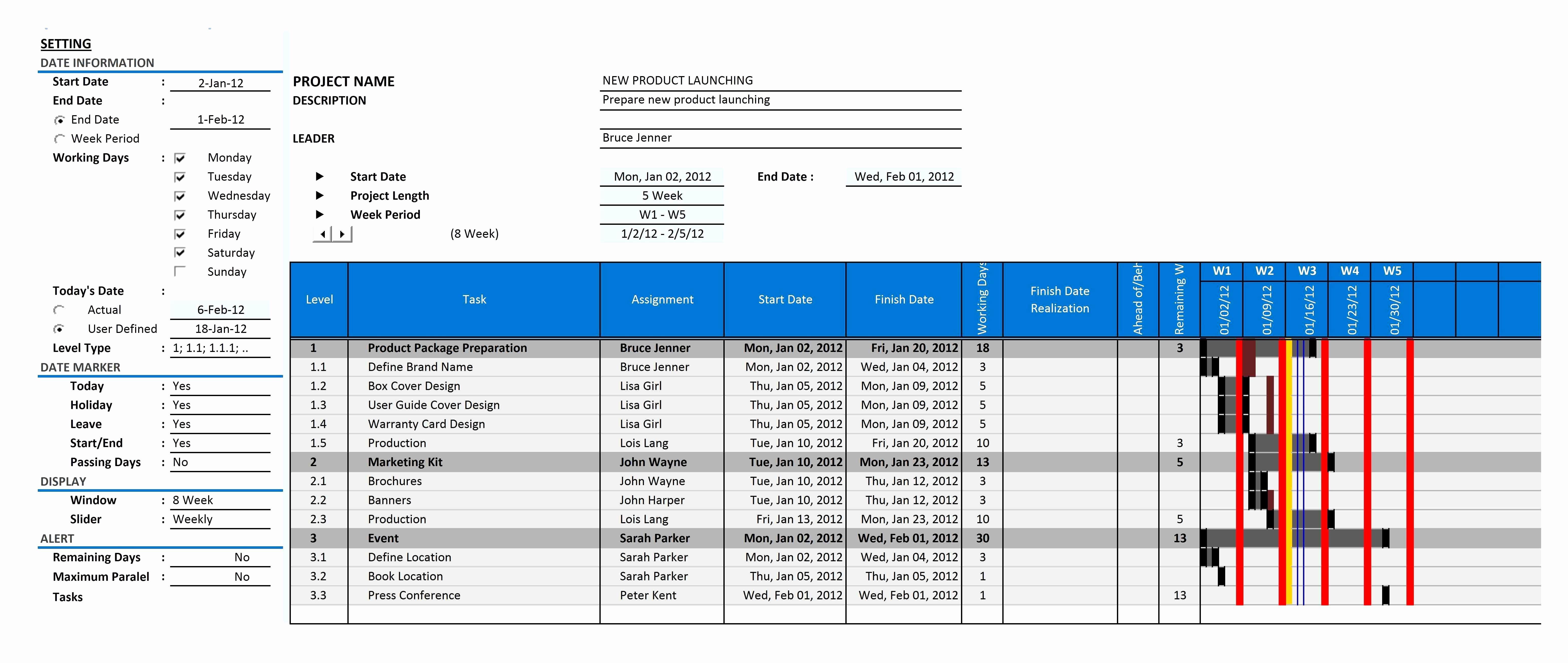 30 Inspirational Gantt Chart Excel Template Download   Free Chart Within Best Free Gantt Chart Template