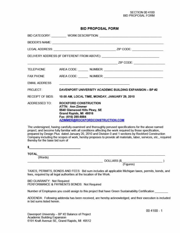 31 Construction Proposal Template & Construction Bid Forms With Construction Estimate Forms Templates