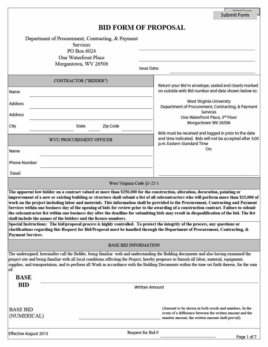 31 Construction Proposal Template & Construction Bid Forms Within Construction Estimate Sheet Templates