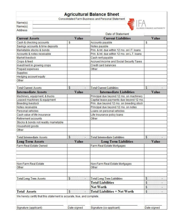 38 Free Balance Sheet Templates & Examples   Template Lab In Personal Balance Sheet Template