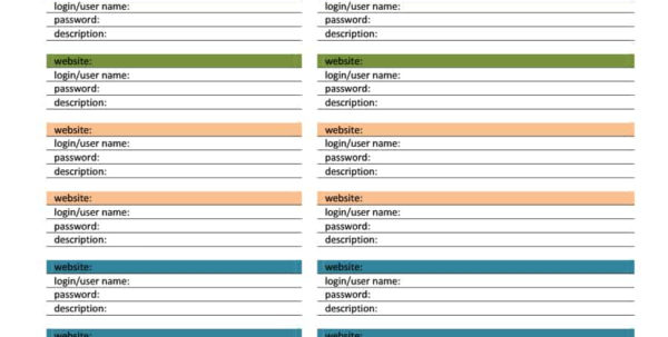 39 Best Password List Templates (Word, Excel & Pdf)   Template Lab In Password Spreadsheet Template