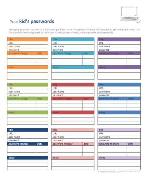 39 Best Password List Templates (Word, Excel & Pdf)   Template Lab Inside Password Spreadsheet Template