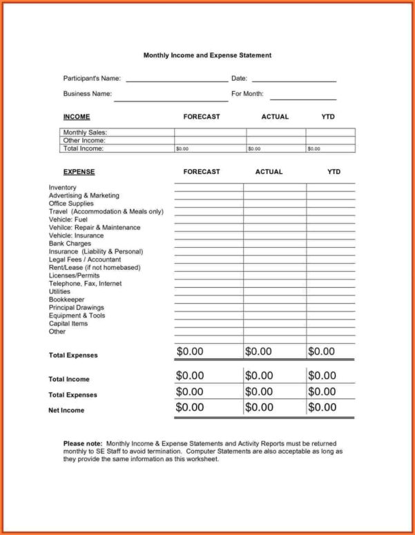 4 Income Expense Statement   Statement Synonym Throughout Monthly Within Income And Expense Statement Template