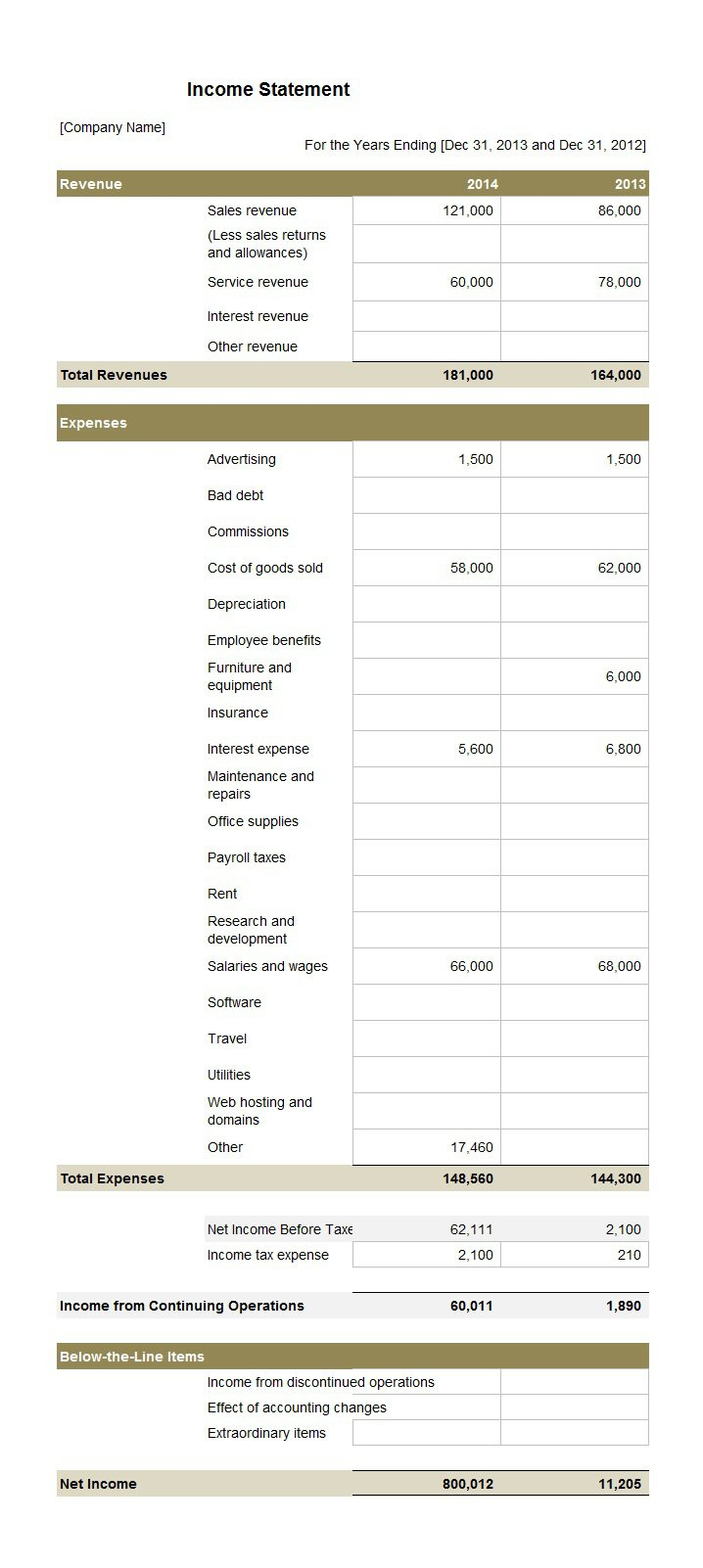 41 Free Income Statement Templates & Examples   Template Lab With Income Statement Template Free