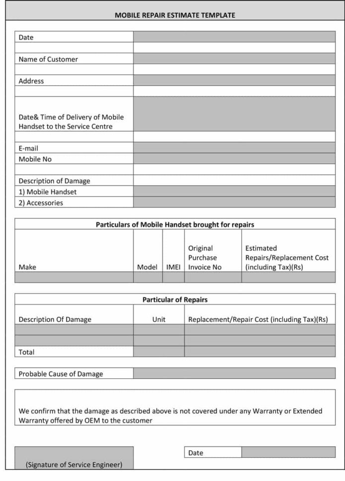 44 Free Estimate Template Forms [Construction, Repair, Cleaning] For Construction Estimate Form