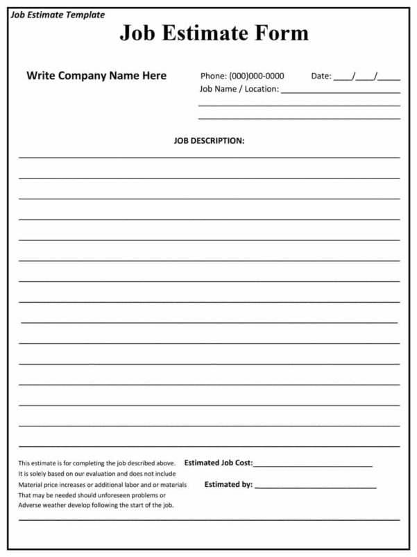 44 Free Estimate Template Forms [Construction, Repair, Cleaning] In Estimating Templates For Construction