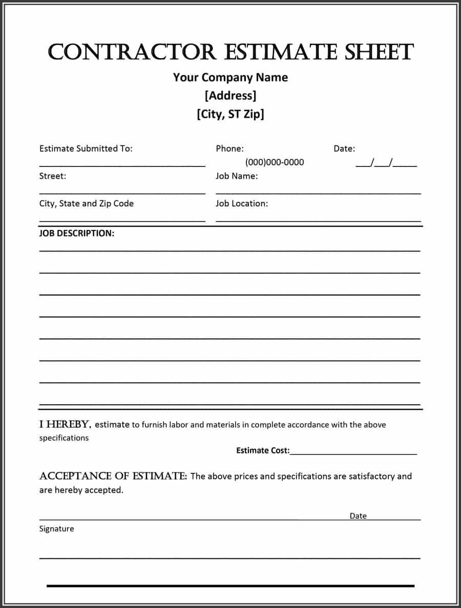 44 Free Estimate Template Forms [Construction, Repair, Cleaning] Intended For Residential Construction Bid Form Residential Construction Bid Form Example of Spreadshee Example of Spreadshee residential construction estimate form