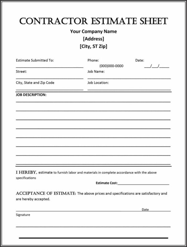 44 Free Estimate Template Forms [Construction, Repair, Cleaning] Throughout Construction Estimate Form