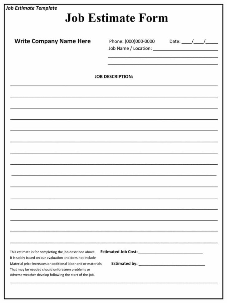 44 Free Estimate Template Forms [Construction, Repair, Cleaning] To Construction Estimating Template Free