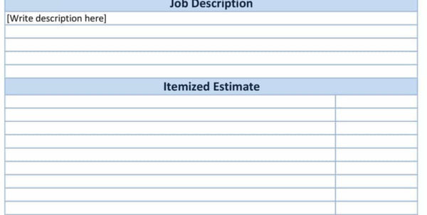 44 Free Estimate Template Forms [Construction, Repair, Cleaning] To Construction Job Estimate Template Free