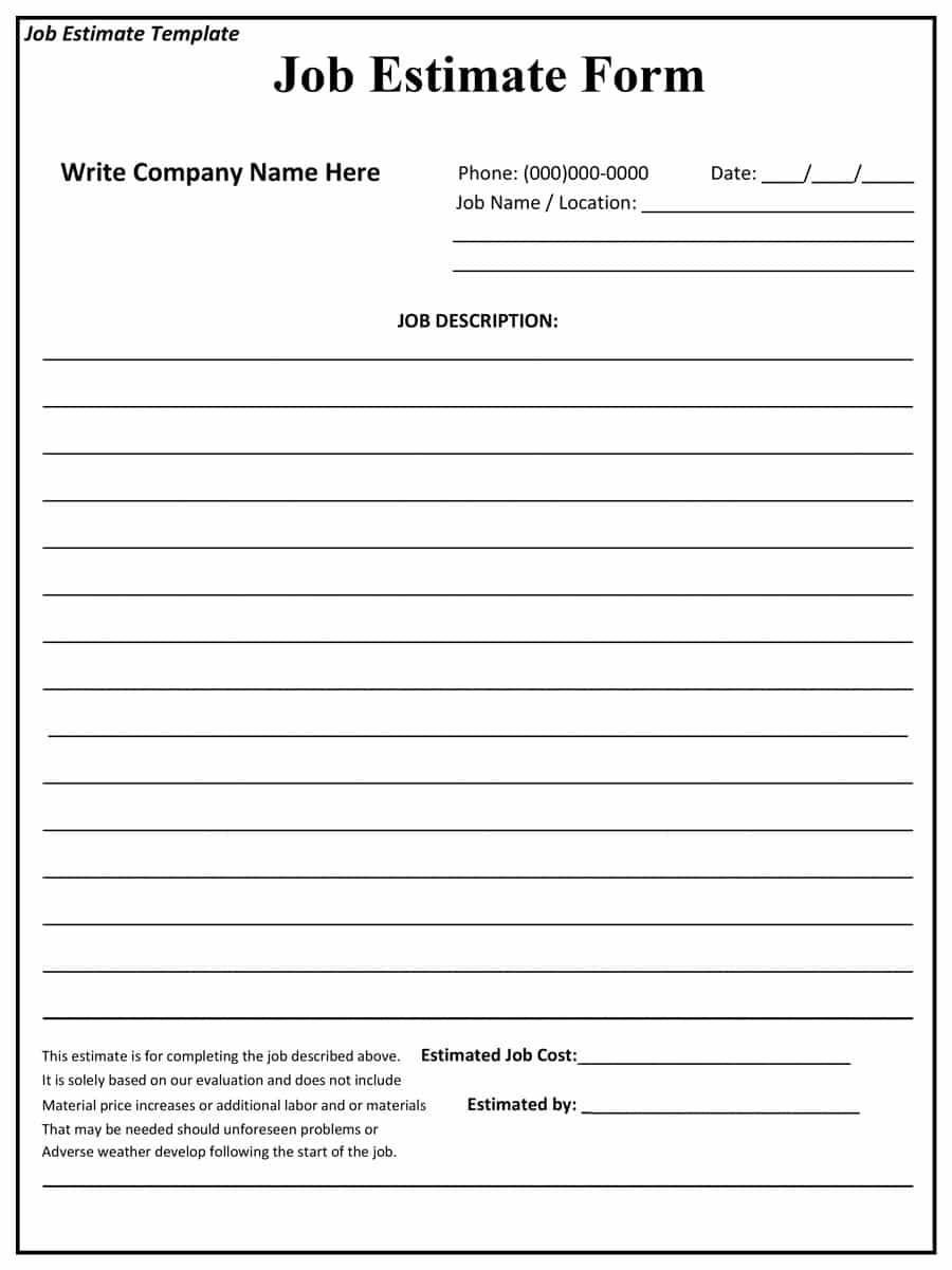 44 Free Estimate Template Forms [Construction, Repair, Cleaning] With Free Construction Estimate Template Word