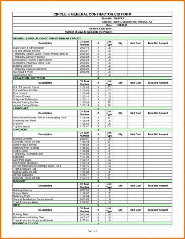 44 Lovely Job Estimate Template Excel Resume Cover Center And Construction Bid Form Free