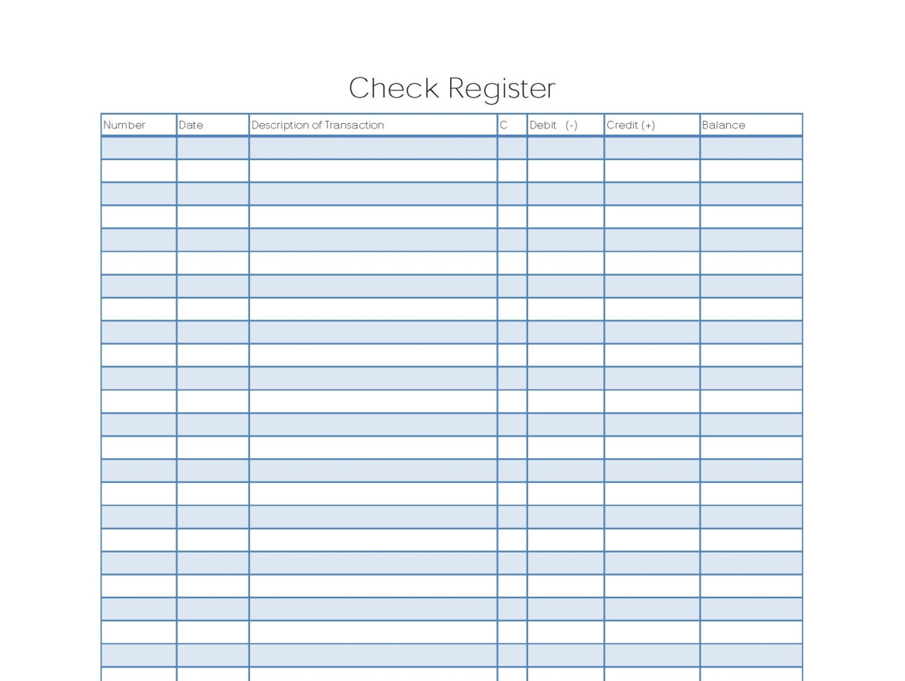 5 Printable Check Register Templates Formats, Examples In Word Excel Intended For Excel Bank Account Template