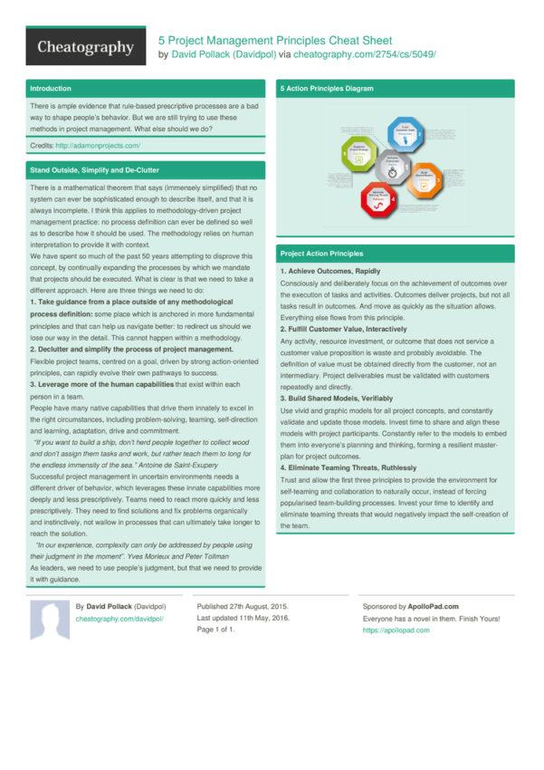 5 Project Management Principles Cheat Sheetdavidpol   Download To Project Management Cheat Sheet
