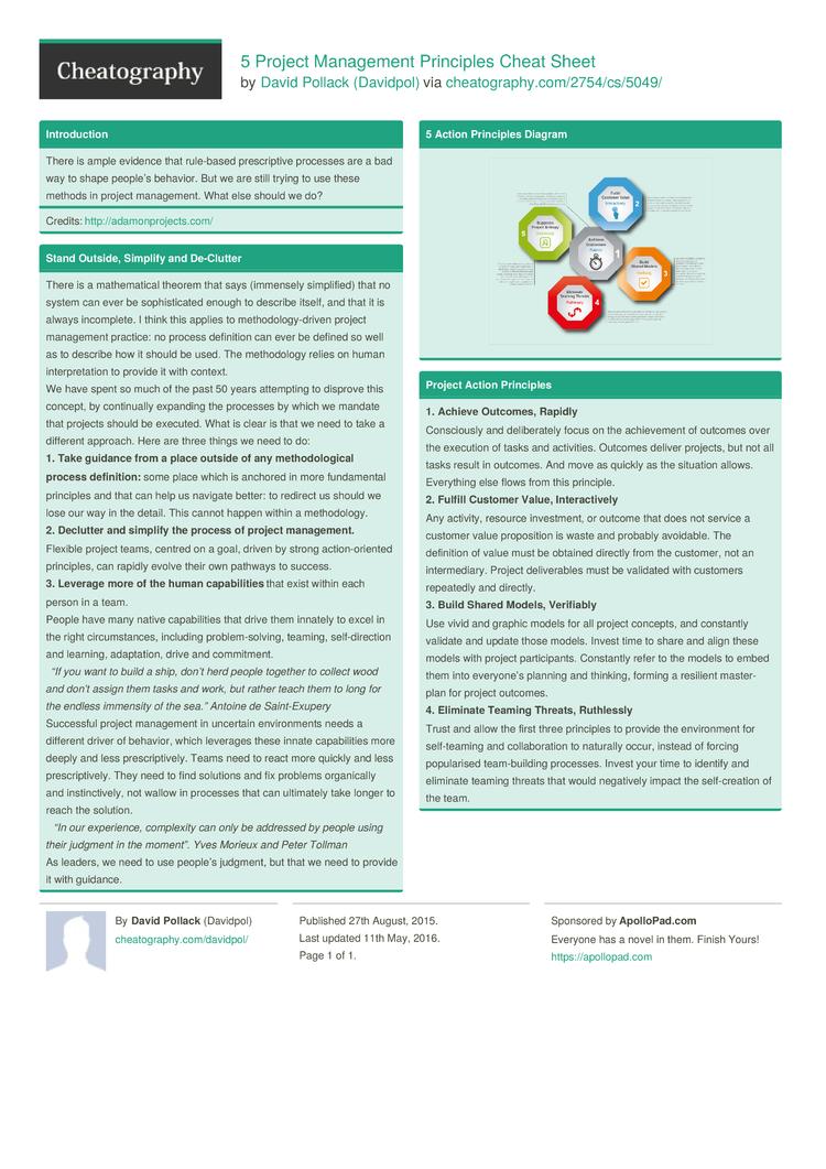 5 Project Management Principles Cheat Sheetdavidpol - Download To Project Management Cheat Sheet Pdf