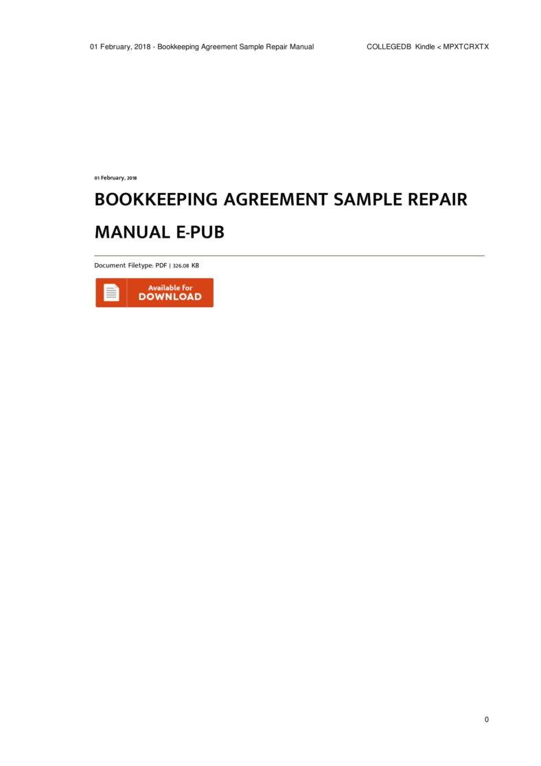 6  Bookkeeping Contract Templates   Pdf | Free & Premium Templates For Manual Bookkeeping Template