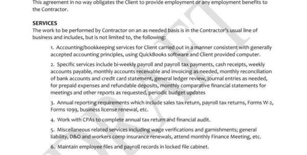 6  Bookkeeping Contract Templates   Pdf | Free & Premium Templates Inside Bookkeeping Agreement Template