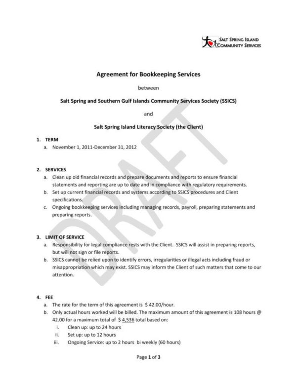 6  Bookkeeping Contract Templates   Pdf | Free & Premium Templates Within Bookkeeping Agreement Template