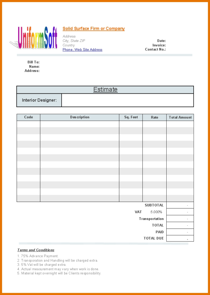 7 Construction Estimate Template | Itinerary Template Sample And Construction Estimate Template For Mac