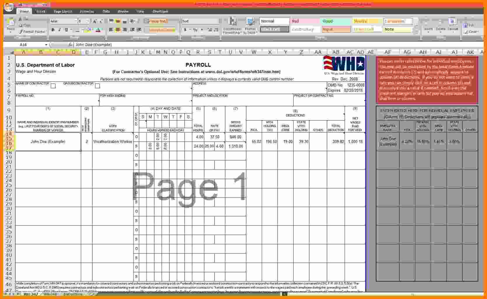 7  Payroll Excel Template Free | Technician Salary Slip Within Payroll Spreadsheet Template Free