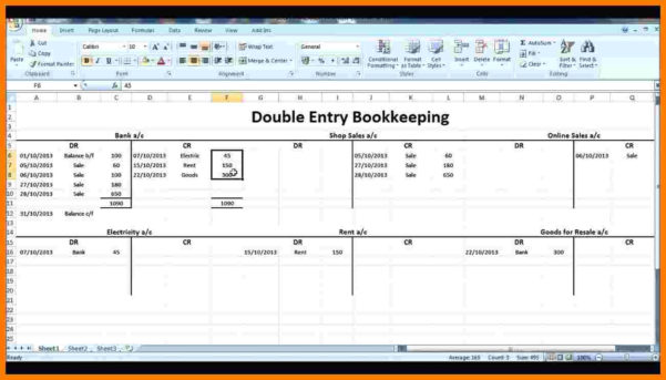 8  Double Entry Ledger Template | Ledger Review Throughout Double Entry Bookkeeping Spreadsheet Excel