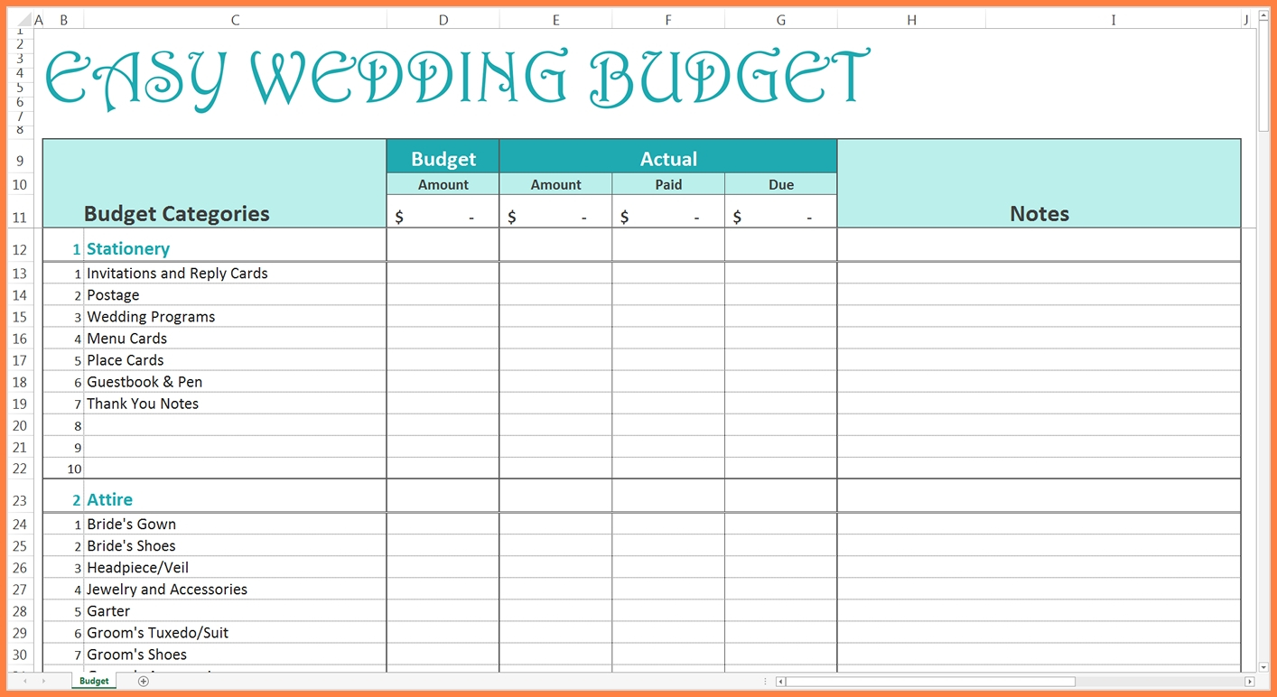 8 Sample Wedding Budget Spreadsheet | Costs Spreadsheet Intended For And Sample Wedding Budget Spreadsheet