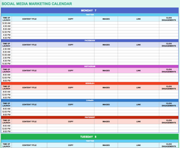 9 Free Marketing Calendar Templates For Excel   Smartsheet For Marketing Spreadsheet Template