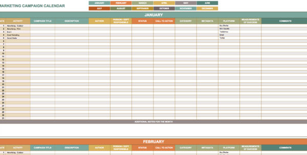 9 Free Marketing Calendar Templates For Excel   Smartsheet Inside Marketing Campaign Calendar Template Excel