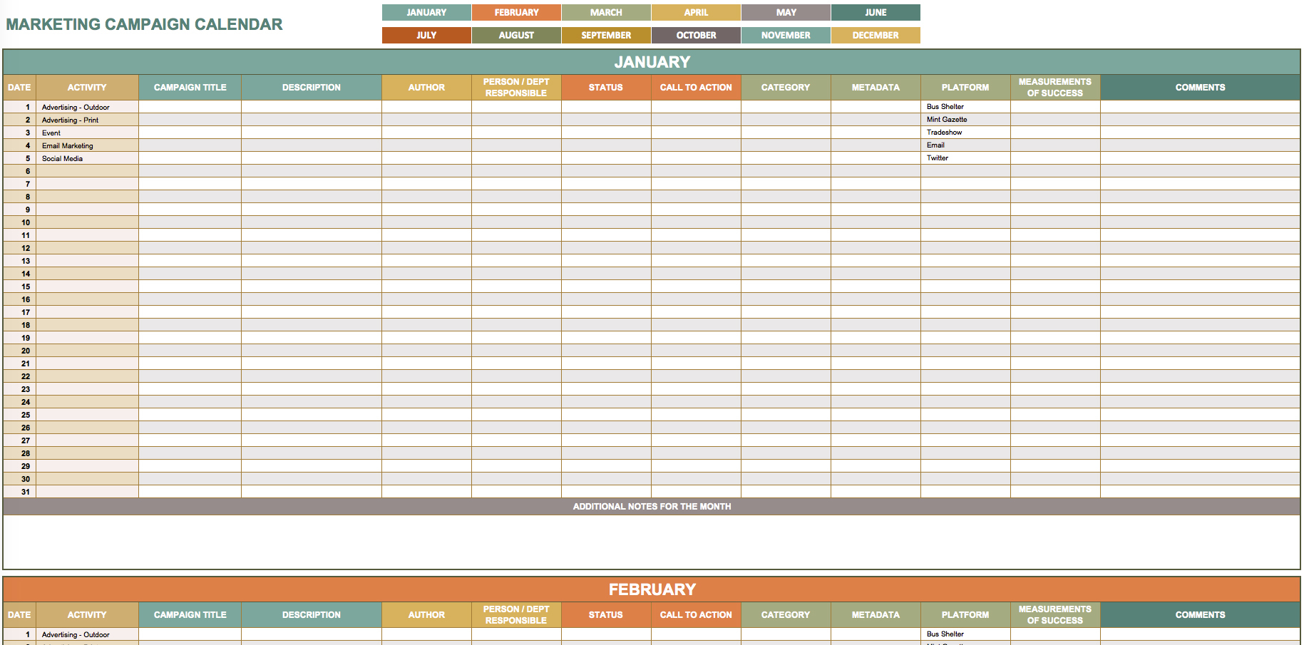 9 Free Marketing Calendar Templates For Excel - Smartsheet Inside Marketing Campaign Calendar Template Excel