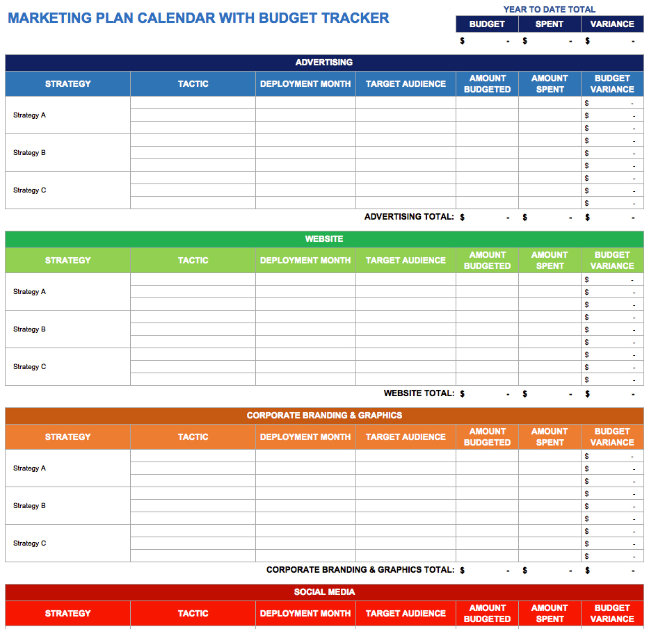 9 Free Marketing Calendar Templates For Excel   Smartsheet Inside Marketing Spreadsheet Template