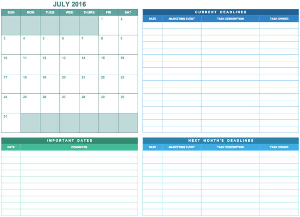 9 Free Marketing Calendar Templates For Excel   Smartsheet Throughout Marketing Calendar Template Free