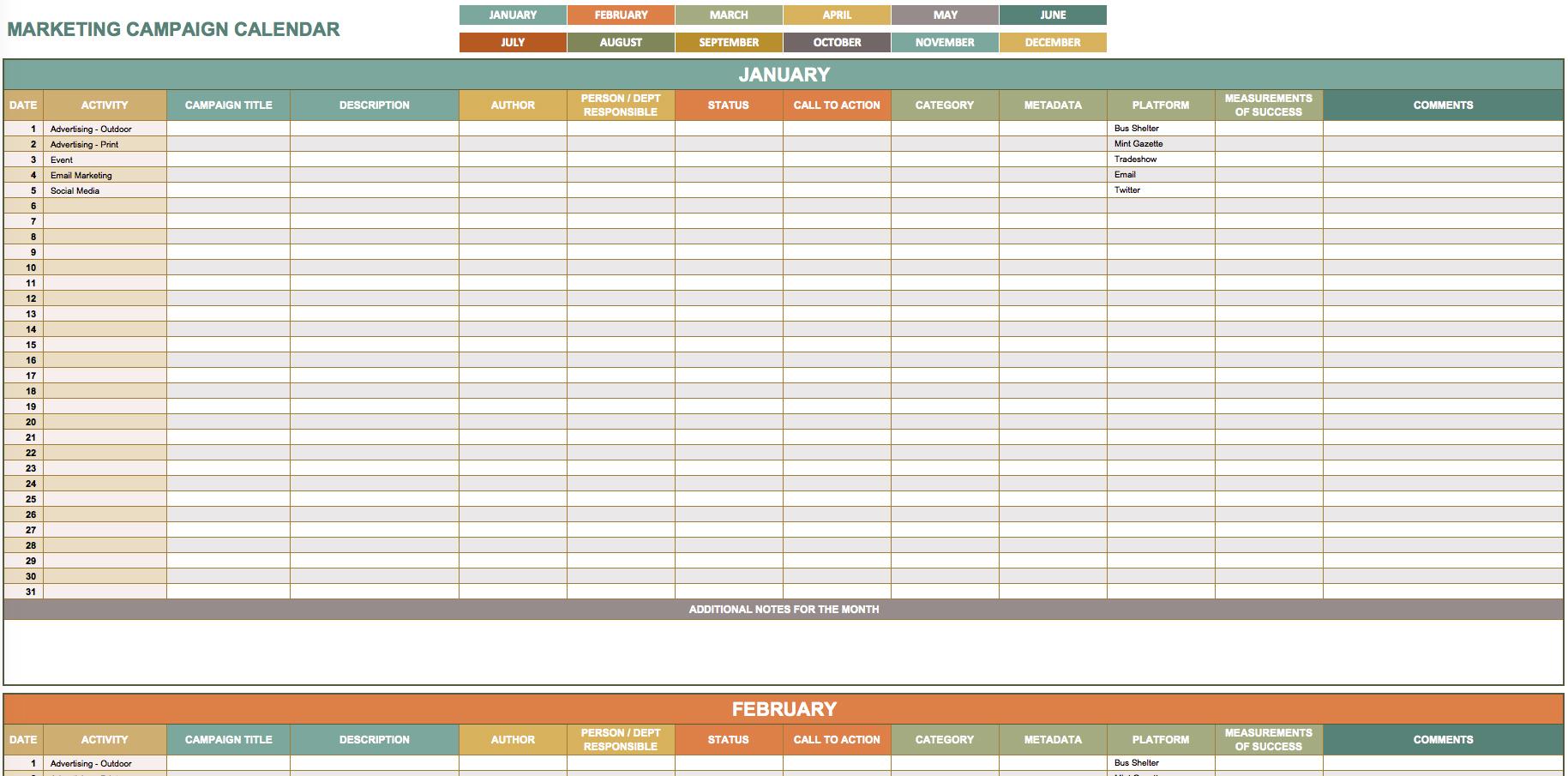 9 Free Marketing Calendar Templates For Excel - Smartsheet To Marketing Calendar Template Google Docs