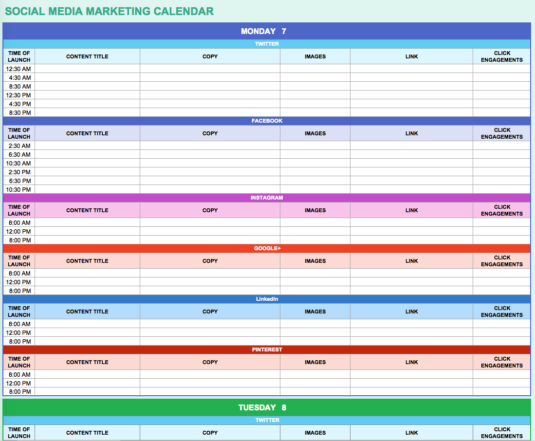 9 Free Marketing Calendar Templates For Excel   Smartsheet With Calendar Spreadsheet