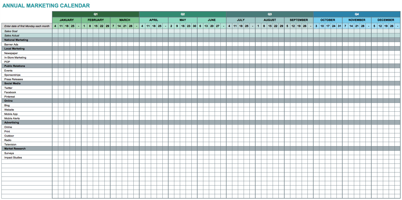 9 Free Marketing Calendar Templates For Excel - Smartsheet With Content Marketing Calendar Template