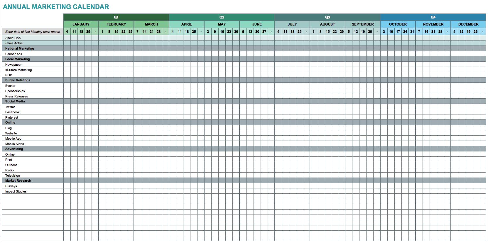 9 Free Marketing Calendar Templates For Excel - Smartsheet Within Calendar Spreadsheet