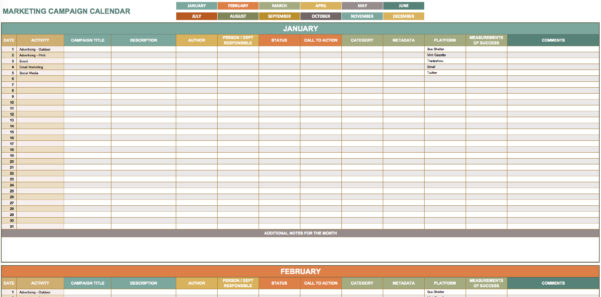 9 Free Marketing Calendar Templates For Excel   Smartsheet Within Content Marketing Calendar Template