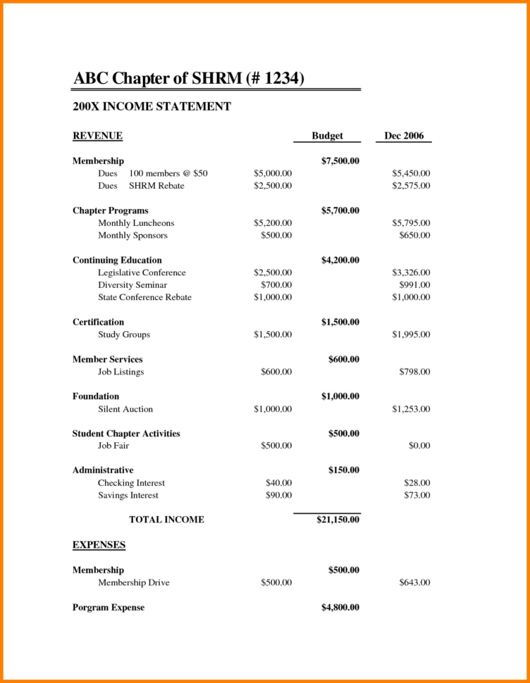 9 Non Profit Financial Statement Template Excel Carsell Best Of Within Income Statement Template Word