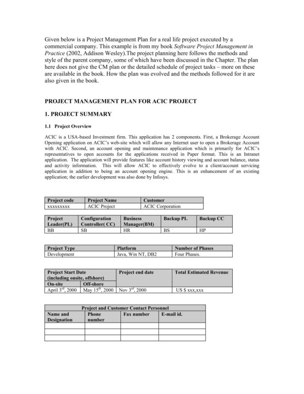 9  Project Management Plan Template Examples   Pdf With Project Management Plan Templates