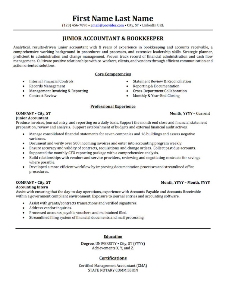 Accounting, Auditing, & Bookkeeping Resume Samples | Professional Throughout Bookkeeping Resume Templates