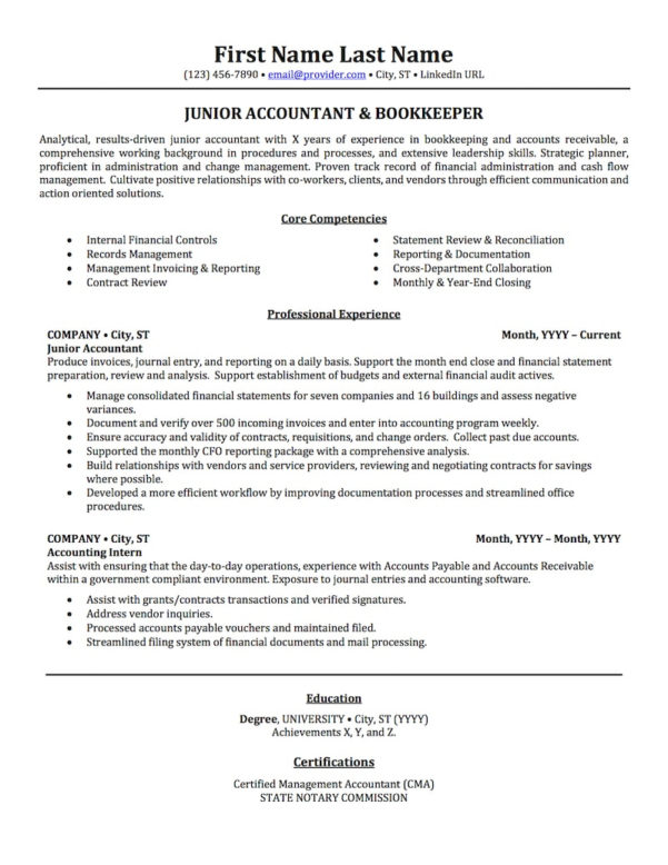 Accounting, Auditing, & Bookkeeping Resume Samples | Professional To Bookkeeping Resume Samples