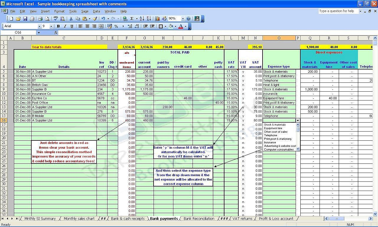 Accounting Bookkeeping Spreadsheets Templates Demo To Bookkeeping Spreadsheet Uk