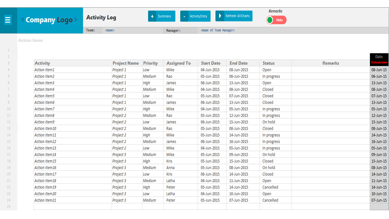Activity Log   Excel Project Management Templates With Sample Project Tracking Spreadsheet