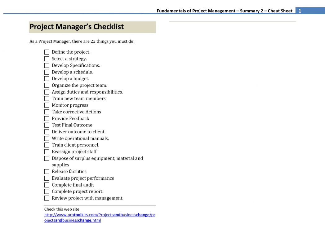 Agile Project Management Cheat Sheet Managers Checklist To Project Management Cheat Sheet