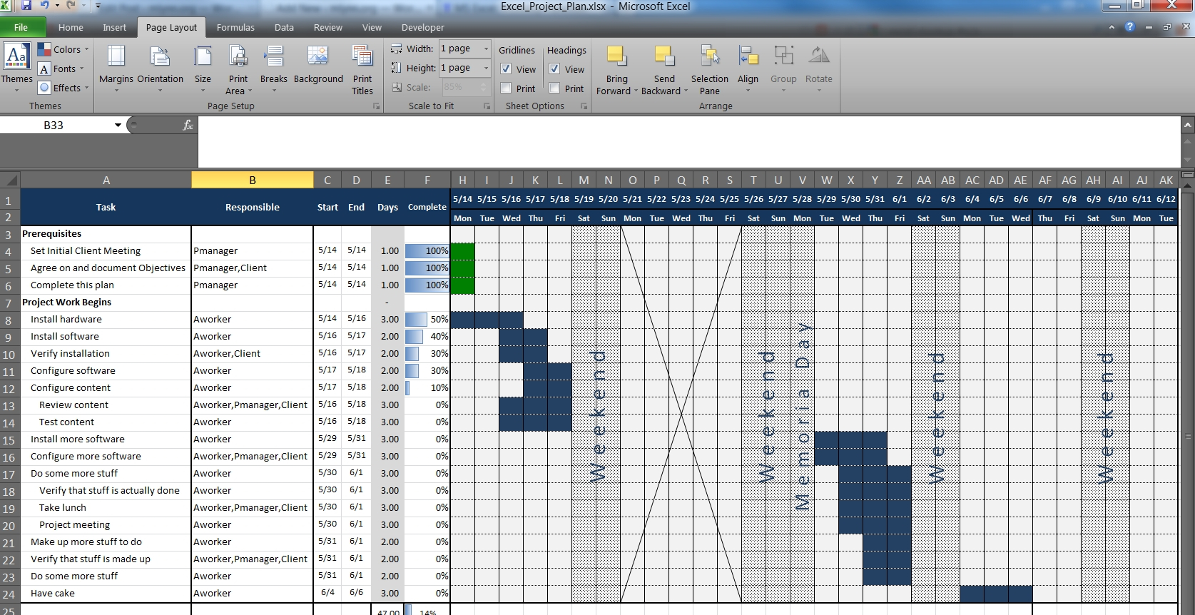 An Excel Project Planning Spreadsheet – Mlynn And Project Management In Project Management Plan Template Free Download