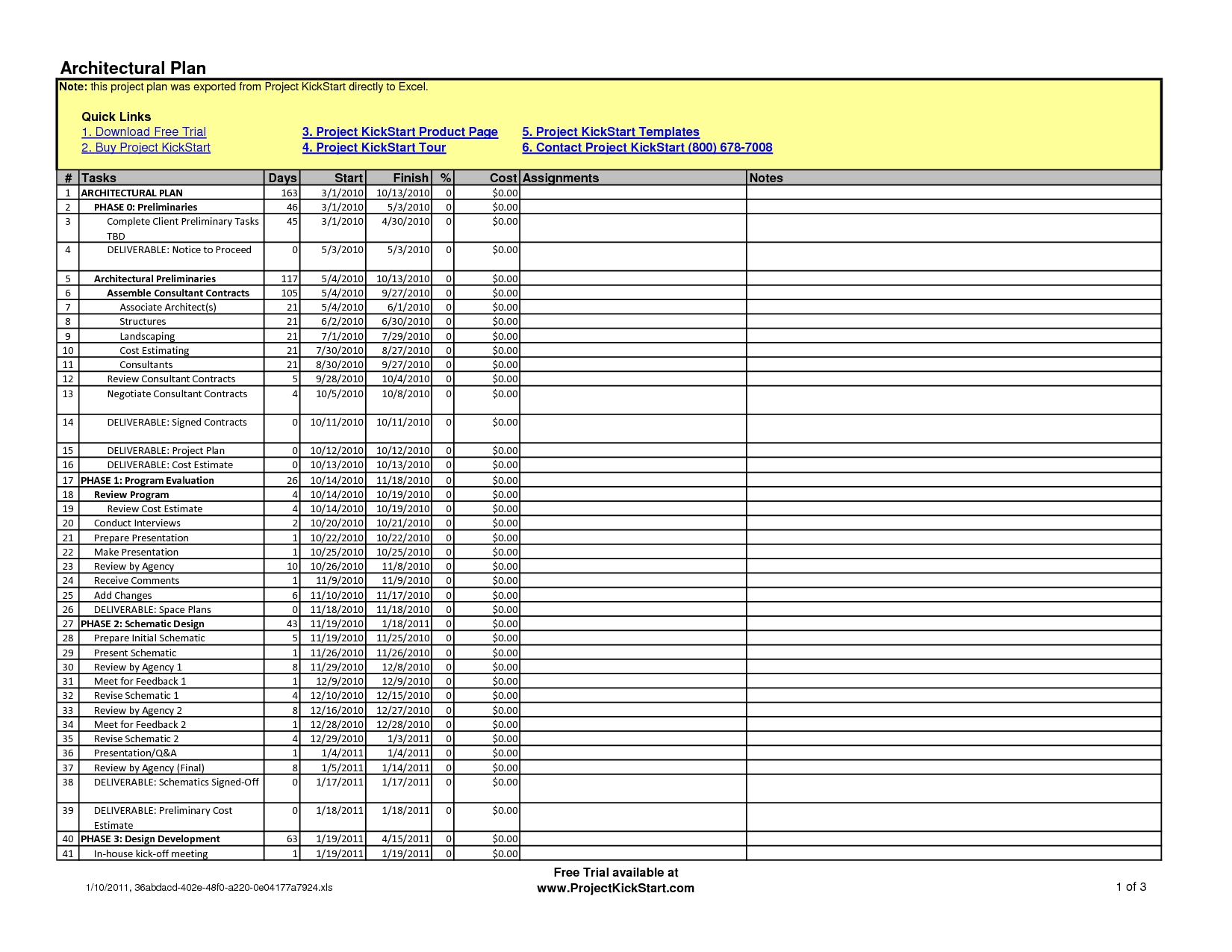 Architectural And Construction Project Plan And Schedule Template For Building Project Management Spreadsheet