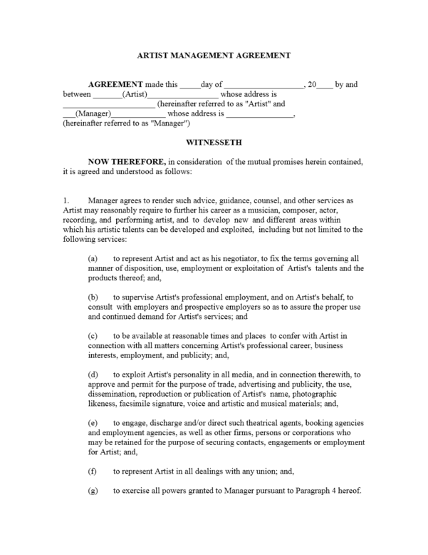 Artist Management Contract Template | Freewordtemplates Intended For To Project Management Contracts Templates