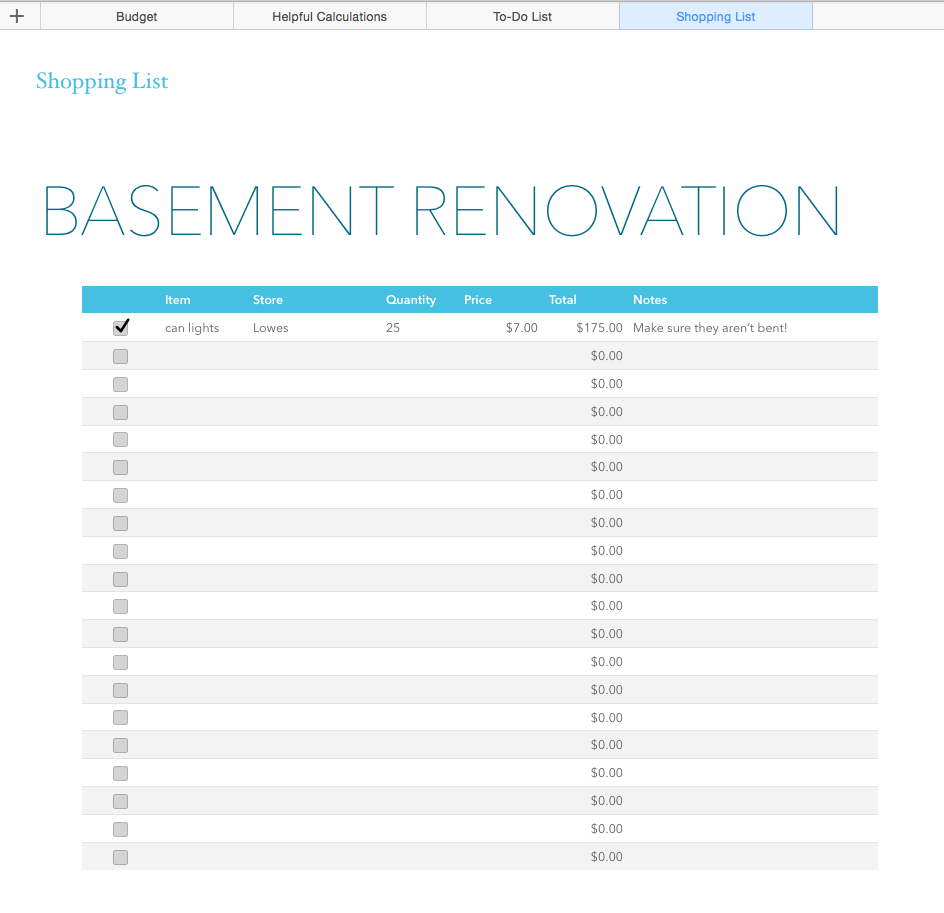 Basement Renovation Budget—Excel Template   Rachel Rossi Within Home Renovation Budget Spreadsheet Template