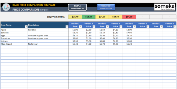 Basic Price Comparison Template For Excel – Free Download with Comparison Spreadsheet Template