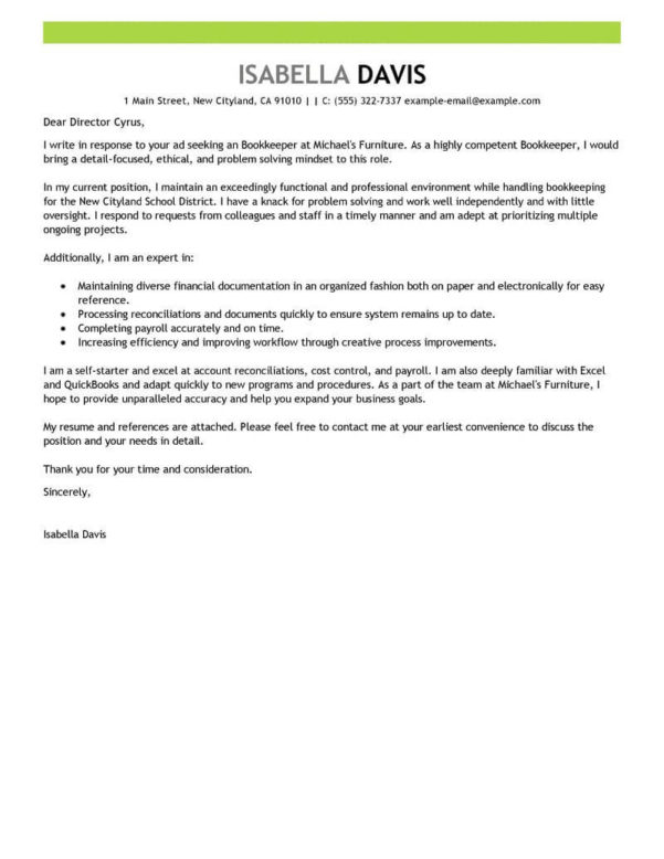 Best Bookkeeper Cover Letter Examples | Livecareer For Bookkeeping Contract Template Canada