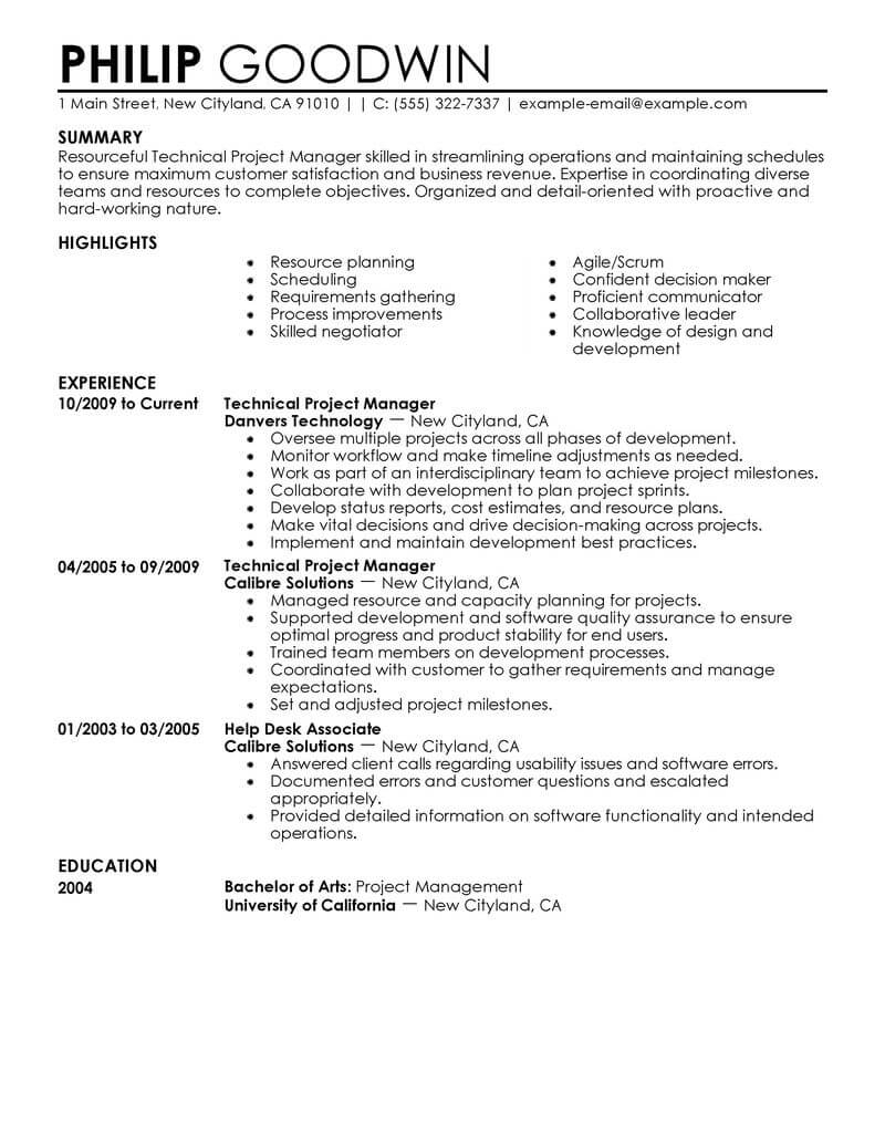 Best Technical Project Manager Resume Example | Livecareer Inside Project Management Resume Templates